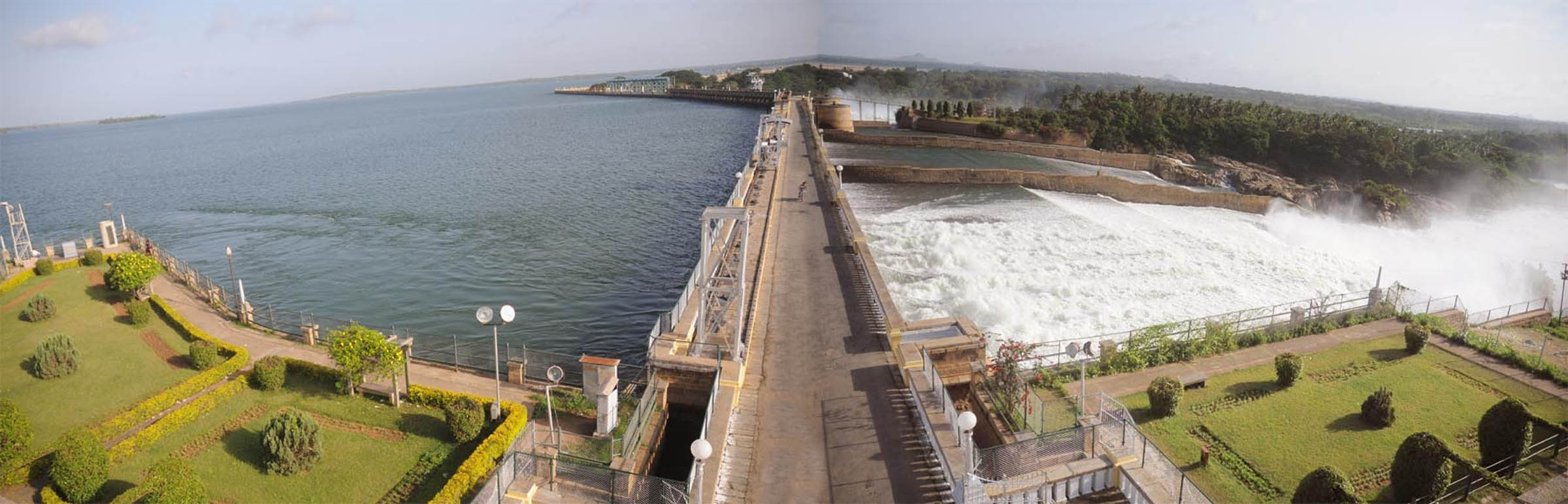 A view of KRS Reservoir in Mandya Dist on Tuesday as water released from all gates. --KPN