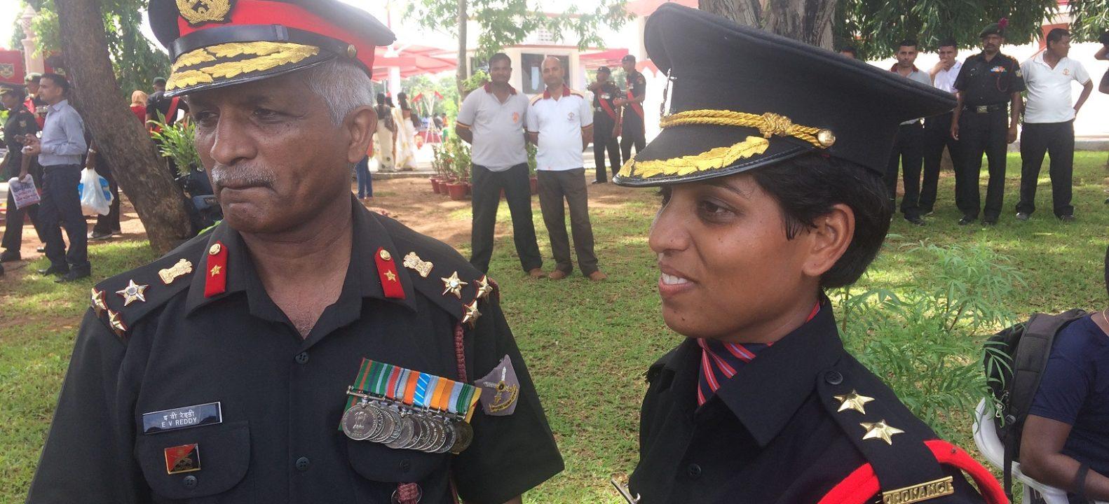 Nidhi Mishra with E V Reddy, centre commandant of Mahar Regiment