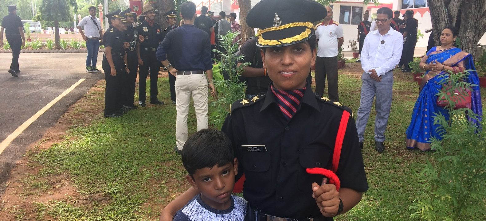 Lieutenant Nidhi Mishra with her son Suyash