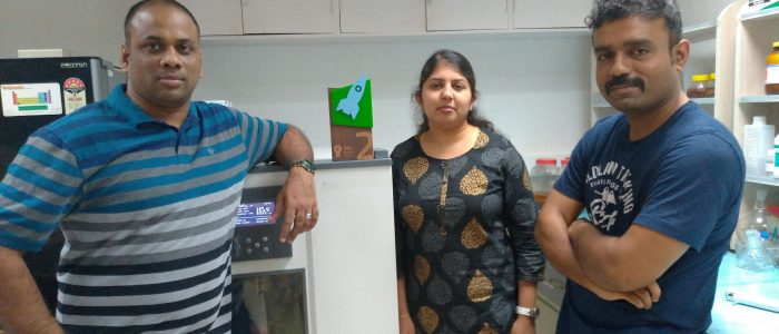 (L_R) Mr. Suresh Paul, Dr. Priyadharshini Mani & Dr. V.T. Fidal Kumar, Founders of JSP Enviro Startup, which is developing Microbial Fuel Cells to generate Electricity by treating Textile Wastewater