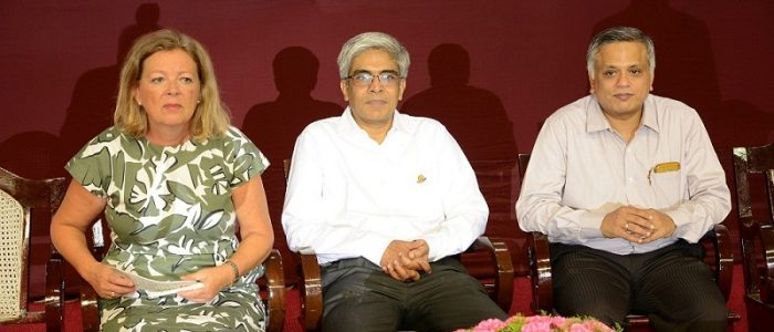 L to R -Ms. Karin Stoll, Consul General, German Consulate, Chennai, Prof. Bhaskar Ramamurthi, Director, IIT-M & Prof. Mahesh Panchagnula, Dean (IAR), IIT-M, during Diamond Jubilee celebrations