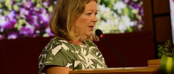 Ms. Karin Stoll, Consul General, German Consulate, Chennai, addressing the Diamond Jubilee celebrations at IIT Madras campus